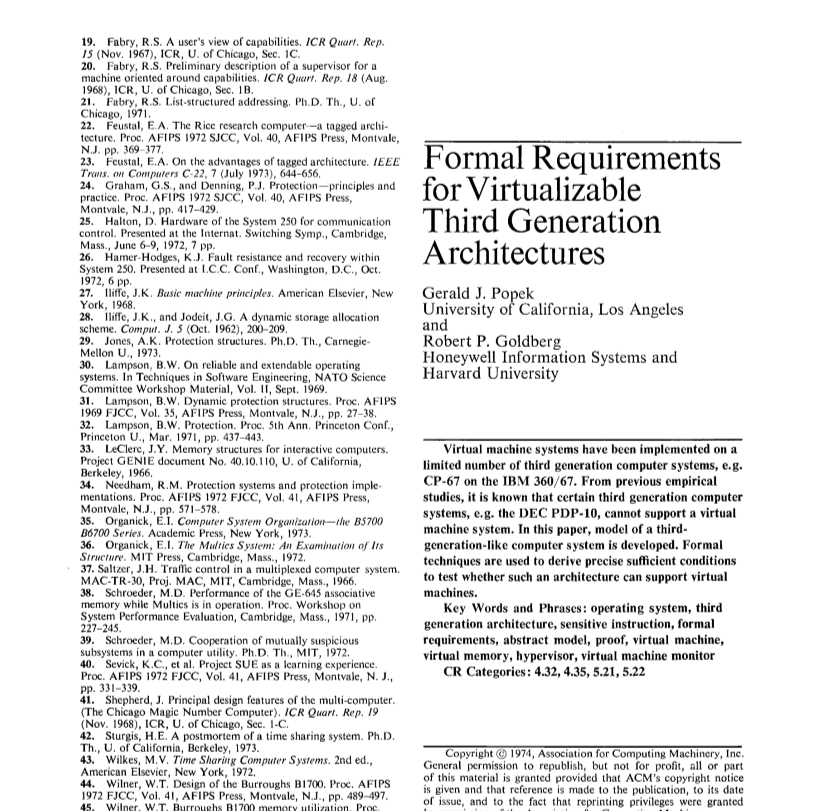 Formal Reguirements for Virtualizable