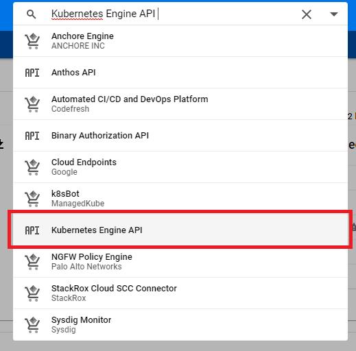 Söka efter Kubernetes Engine API