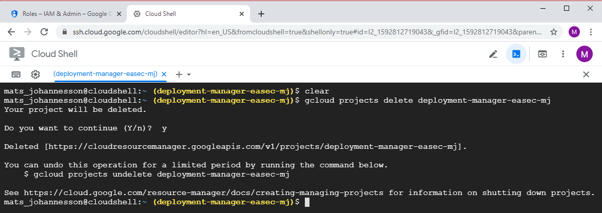gcloud projects delete deployment-manager-easec-xx