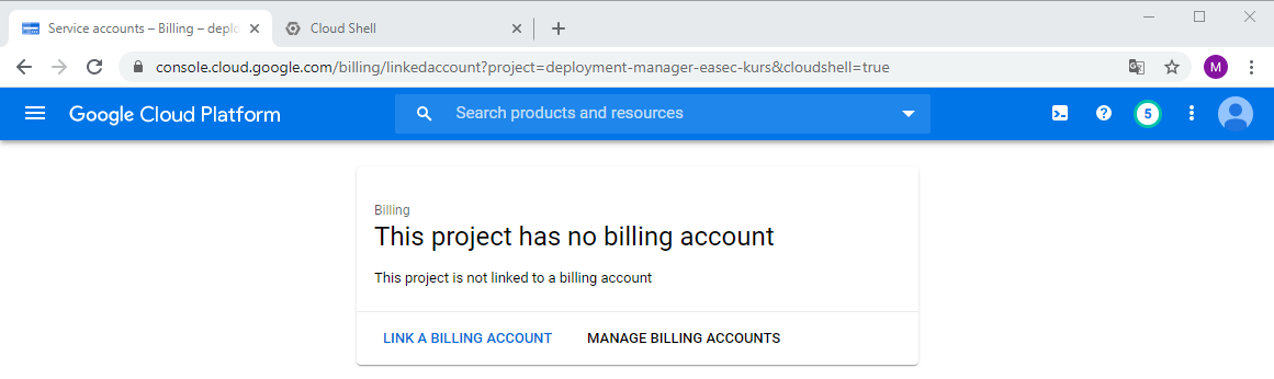 Billing account