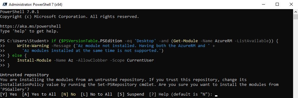 Instalelra Azure Az module
