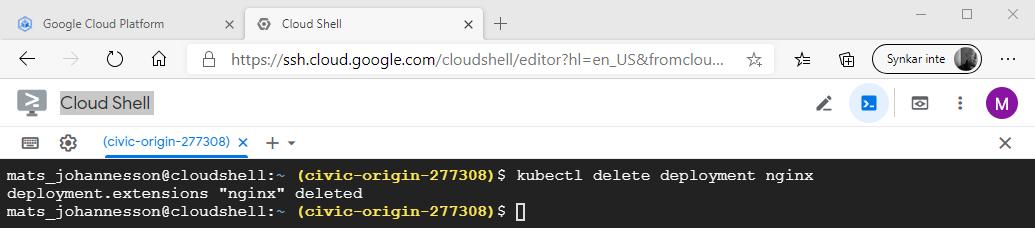 kubectl delete deployment nginx