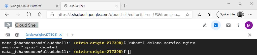 kubectl delete service nginx
