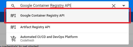 Söka efter Google Container Registry