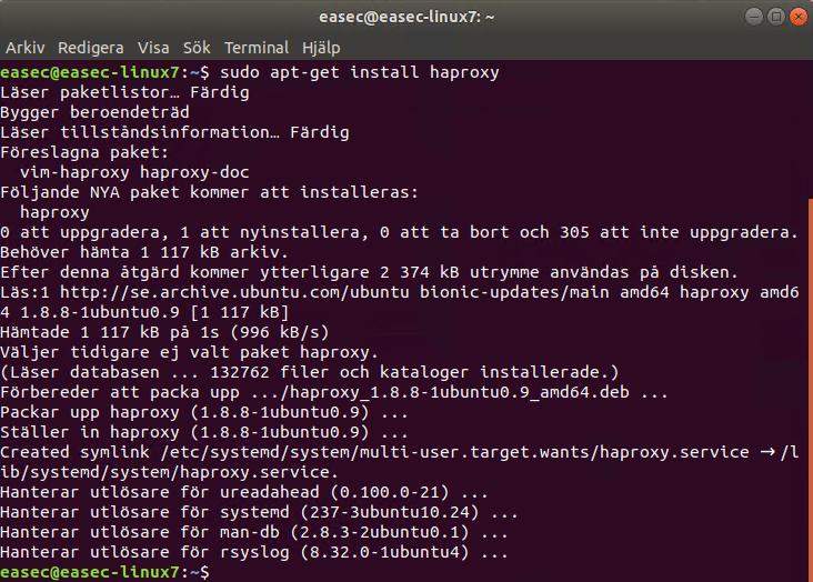 sudo apt-get install haproxy
