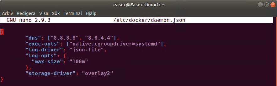sudo nano /etc/docker/daemon.json