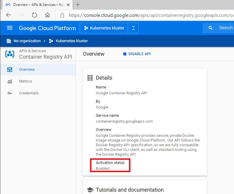 Verifiera att Google Container Registry är påslaget